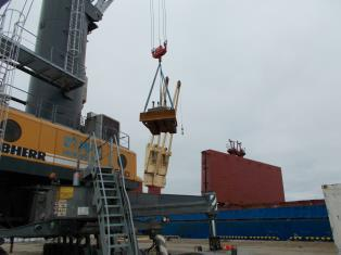 Loading on a ship in the port of Sabetta